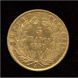 1857A France Gold 5 Francs