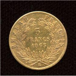 1863BB France Gold 5 Francs