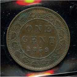 1859 One Cent - Double Punched Narrow 9 #2