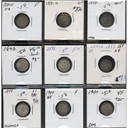 Lot of 9 Victoria silver 5c coins, 1880H to 1901, collectable grades (VG-VF), over $140 Trends value
