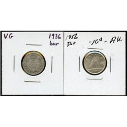Lot of two popular silver 10c varieties