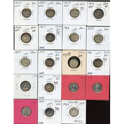 Dealer lot: 19 uncirculated silver 10c, 1953 to 1964 with some repeats