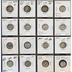 Short set of 16 10c, 1952 to 1968 (no repeats), all mint state grades, over $90 Trends value