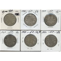 Dealer lot of 6: George V 50c