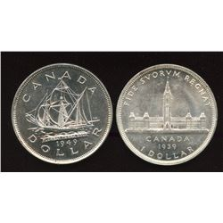 1939 & 1949 Silver Dollars