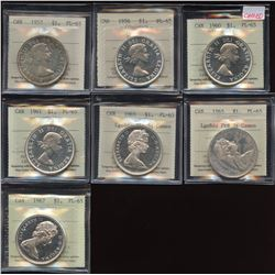 1957 - 1967 Silver Dollar - Lot of 7
