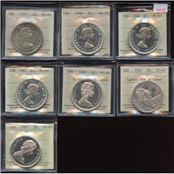 1957 - 1967 Silver Dollar - Lot of 7