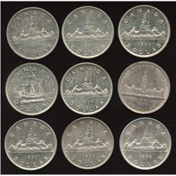 Canadian Silver Dollar - Lot of 9