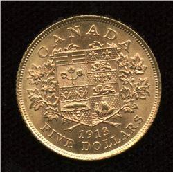 1913 Canada $5 Gold