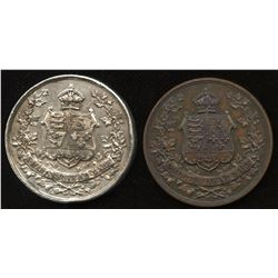 Canadian Confederation medals (silver, copper)