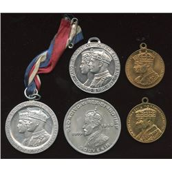 Lot of 5 Edward VIII and George VI coronation medals, one with original ribbon