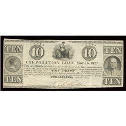 Corporation Loan, Philadelphia Ten Cents, 1837