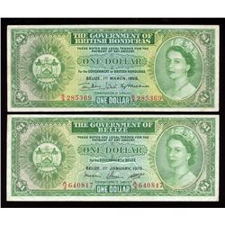 British Honduras & Belize $1 Pair