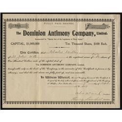 Dominion Antimony Company, Ltd. Lot of 2 Share Certificates