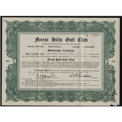 Forest Hills Golf Club Share Certificate