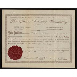 The Sussex Packing Company Ltd. Share Certificate