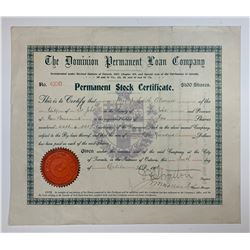 The Dominion Permanent Loan Company Share Certificate