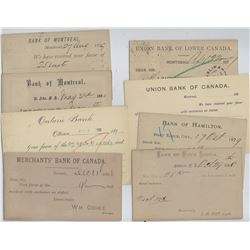 BANK POSTAL STATIONERY 1877 to 1904 Variety of Different Banks