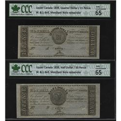W. & J. Bell Fractional Currency, Upper Canada 1839