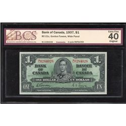 Bank of Canada $1, 1937 - 4 Cycle Repeater