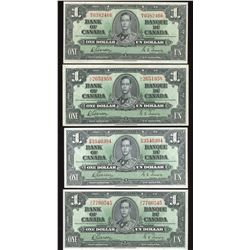 Bank of Canada $1, 1937 - Lot of 4 Notes