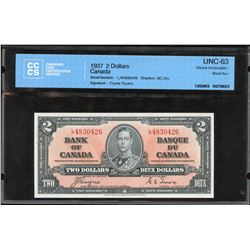 Bank of Canada $2, 1937 - Transitional Prefix