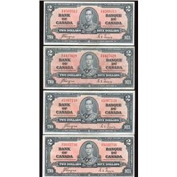 Bank of Canada $2, 1937 - Lot of 4 Notes