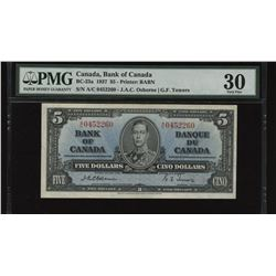 Bank of Canada $5, 1937 - Osborne Signature