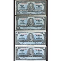 Bank of Canada $5, 1937 - Lot of 4