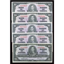 Bank of Canada $10, 1937 - Lot of 5