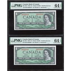 Bank of Canada $1, 1954 - Lot of 2 Consecutive Transitional Notes