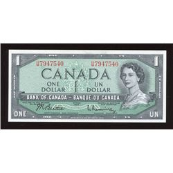 Bank of Canada $1, 1954 Transitional Prefix