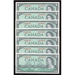 Bank of Canada $1, 1954 - Lot of 7 Consecutives