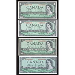 Bank of Canada $1, 1954 Replacement Lot of 4 Notes