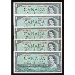 Bank of Canada $1, 1954 Replacement Lot of 5 Notes