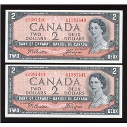 Bank of Canada $2, 1954 - Lot of 2 Consecutive Notes