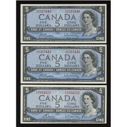 Bank of Canada $5, 1954 - Lot of 2 Consecutive & Bonus