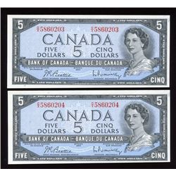 Bank of Canada $5, 1954 - Lot of 2 Consecutive Notes