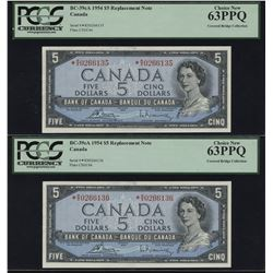 Bank of Canada $5, 1954 *R/X Replacement Lot