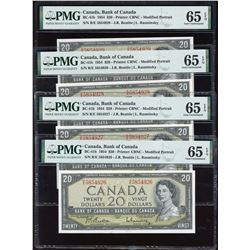 Bank of Canada $20, 1954 - Lot of 4 Consecutive Notes