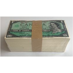 Bank of Canada $1, 1967 - Sealed Bank Lot of 500 Notes