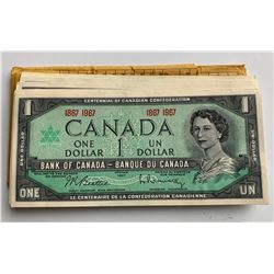 Bank of Canada $1, 1967 - 50 Note Half Bundle