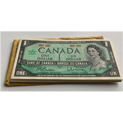 Bank of Canada $1, 1967 - 46 Note Half Bundle