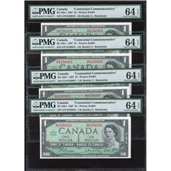 Bank of Canada $1, 1967 - Lot of 4 Consecutives