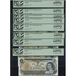 Bank of Canada $1, 1973 *A/A Replacement Lot of 8