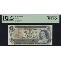 Bank of Canada $1, 1973 Million Numbered Note