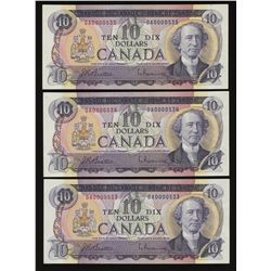 Bank of Canada $10, 1971 - Lot of 3 Consecutive Low Serial Numbers