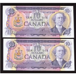 Bank of Canada $10, 1971 - Lot of 2 Consecutive Notes