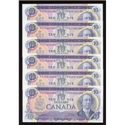 Bank of Canada $10, 1971 - Lot of 6