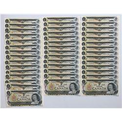 Bank of Canada $1, 1973 - Lot of 43 Consecutives